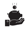 hand with money pig black concept icon vector image vector image