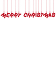 hanging text Merry Christmas vector image