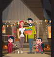 happy family celebrate halloween parents and kids vector image vector image