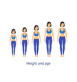 height and age stage of growth from girl to woman vector image vector image