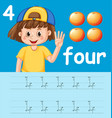 how to write number four worksheet vector image vector image