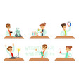 kid scientists set boys and girls in lab coats vector image vector image