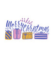 merry christmas holiday wish written with cursive vector image