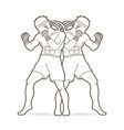muay thai thai boxing standing action outline vector image vector image