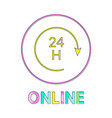 online all day in linear outline style vector image