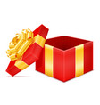 open gift box with bow and ribbon stock vector image vector image