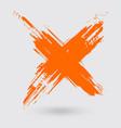 orange ink cross stroke on white background vector image vector image