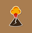 paper sticker on stylish background of volcano vector image vector image