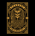 pharaoh skull on black vector image vector image