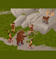 primitive people isometric composition vector image