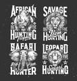 safari hunting tshirt prints sketch set vector image vector image