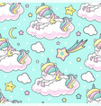 seamless pattern rainbow unicorn on a cloud vector image vector image