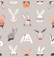 seamless pattern with rabbit faces on grey vector image vector image