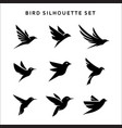 set flying birds sign logo silhouettes vector image