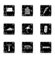 Singapore icons set grunge style vector image vector image