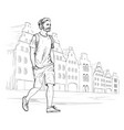 sketch of walking hipster man in headphones vector image