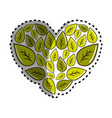 sticker green leaves with form of heart vector image vector image