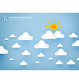 sun and white clouds on pastel blue sky vector image