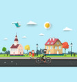 sunny day in village or city park with houses man vector image vector image