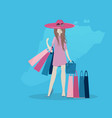 the girl is shopping flat style vector image vector image