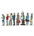 the set of all people woman man robot hipster vector image vector image