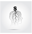 Tree of business shoot grow on human head symbol vector image