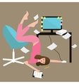 woman people hard work tired full of paper vector image