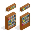 Isometric Bookshelfs set vector image