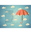 Aged vintage card with umbrella vector image