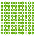 100 comfortable house icons hexagon green vector image vector image