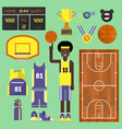 basketball player sport elements vector image vector image