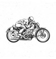 biker riding on vintage motorcycle vector image vector image