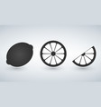 black lemon lime icons set vector image vector image