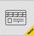 black line movie clapper icon isolated on vector image vector image