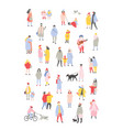 bundle of tiny people dressed in outerwear walking vector image vector image
