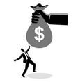 businessman receiving a huge money bag vector image vector image