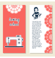 Cards template for sewing school tailoring shop vector image