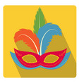 carnival mask with feathers icon flat style vector image