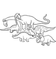 cartoon dinosaurs coloring page vector image