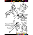 cartoon insects set for coloring book vector image vector image