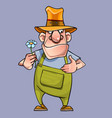 cartoon male gardener with a flower in his hand vector image vector image