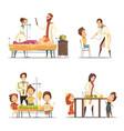 children hospital 4 cartoon icons set