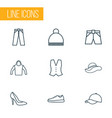 clothes icons line style set with elegant headgear vector image vector image