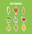 collection fruits and vegetables stickers set vector image vector image