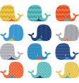 Colorful Cute Whale Collections vector image vector image