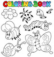coloring book with small animals 2 vector image