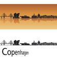 Copenhagen skyline in orange background vector image vector image
