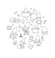 cute cartoon gnomes new year set christmas funny vector image vector image