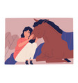 cute scene with woman hugging horse friendship vector image