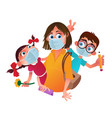 family characters wearing protective medical vector image
